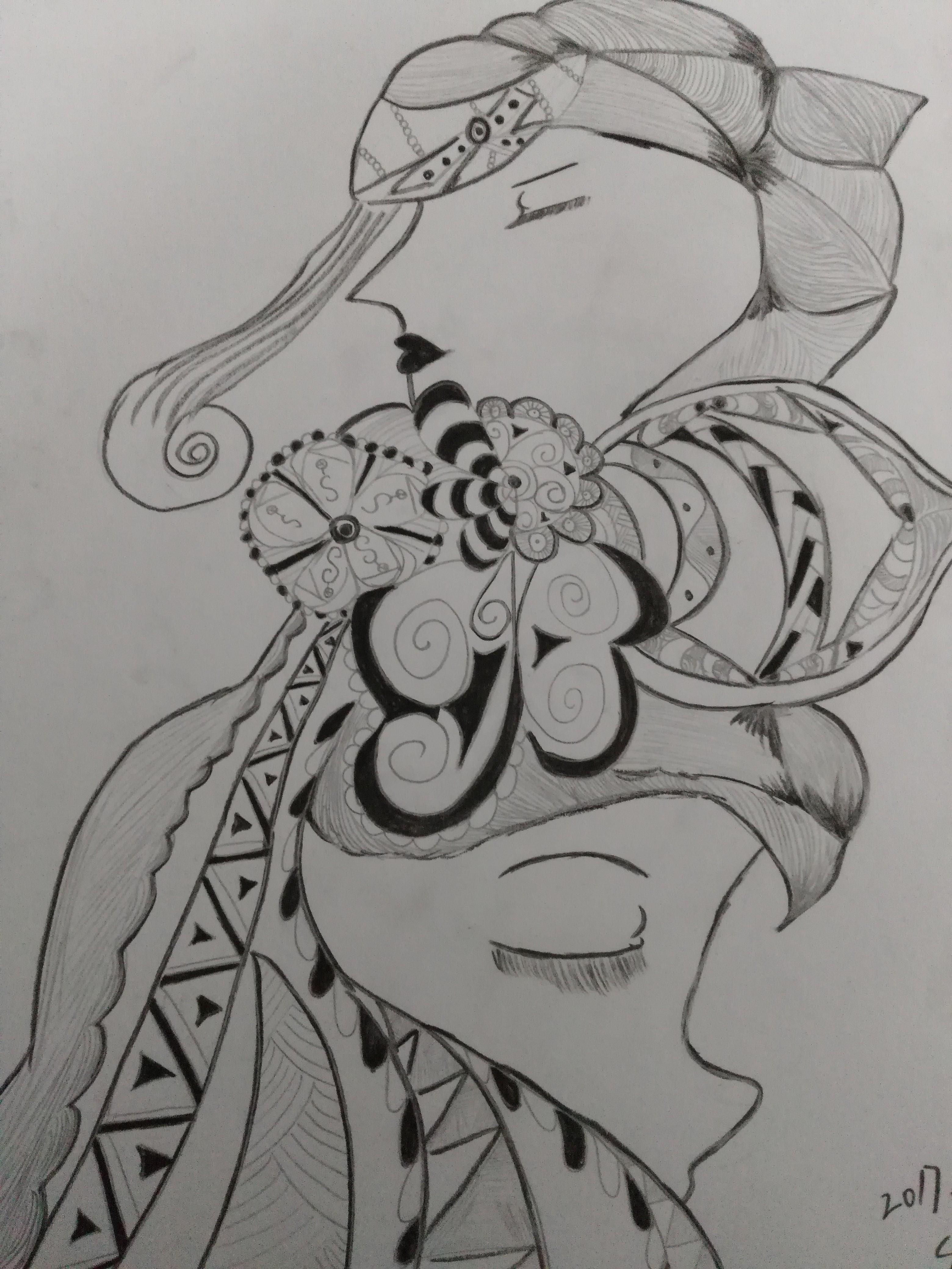 黑白线条人物系列|纯艺术|素描|短蛸 - 原创作品图片
