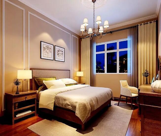 康桥九溪郡四室两厅180平美式乡村风格装修效果图---卧室