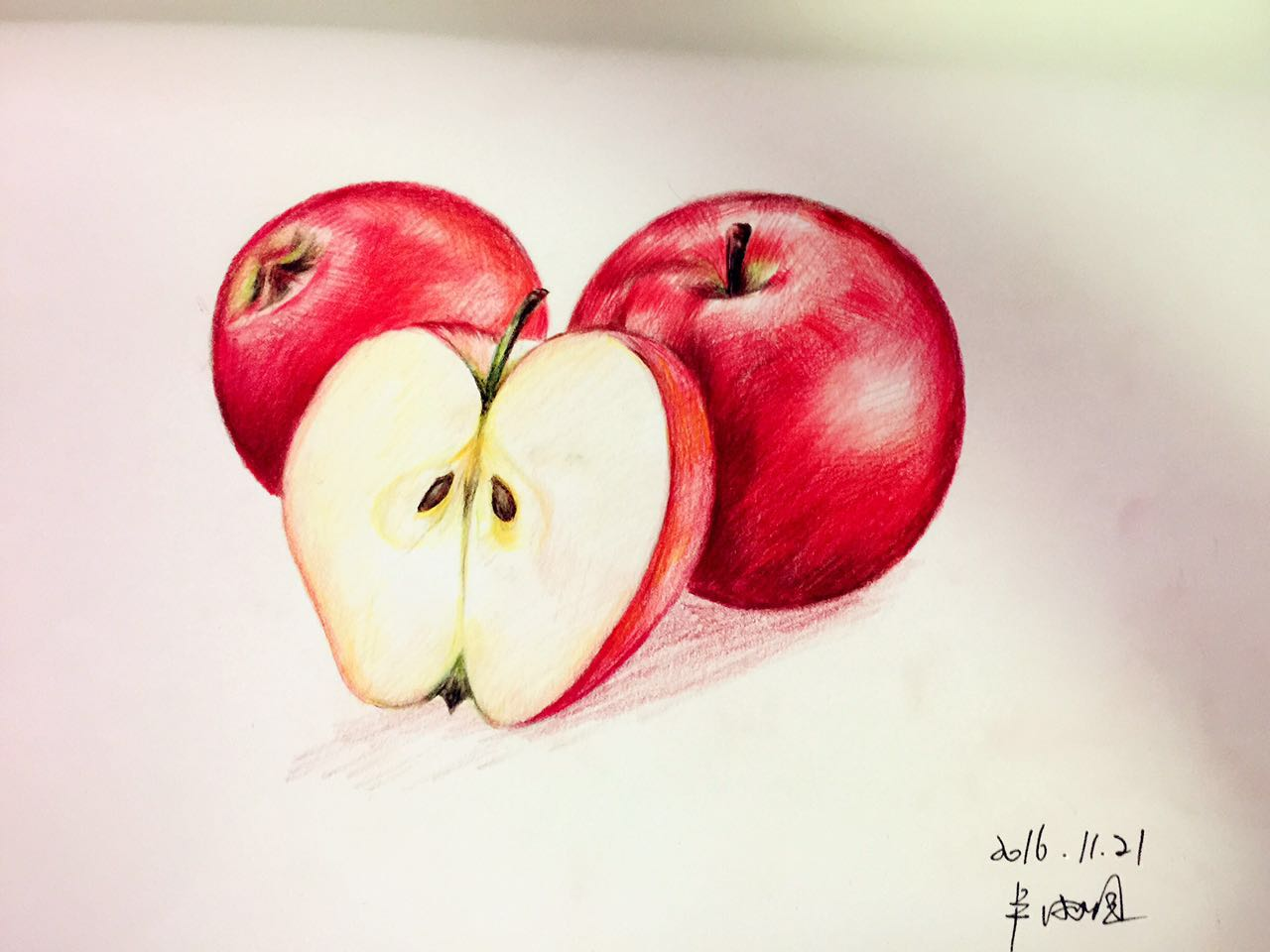手绘彩铅苹果