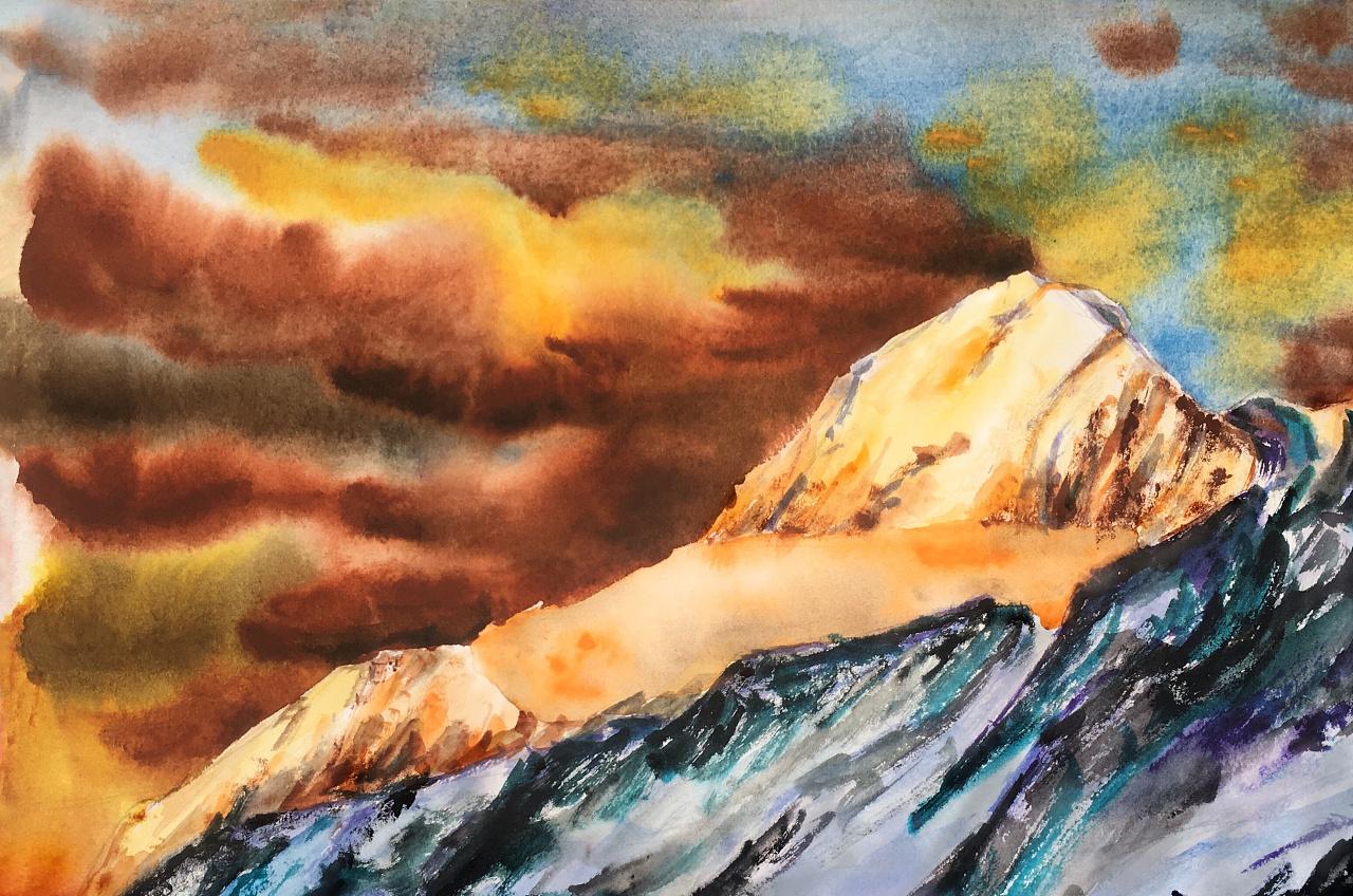 星空雪山水彩画