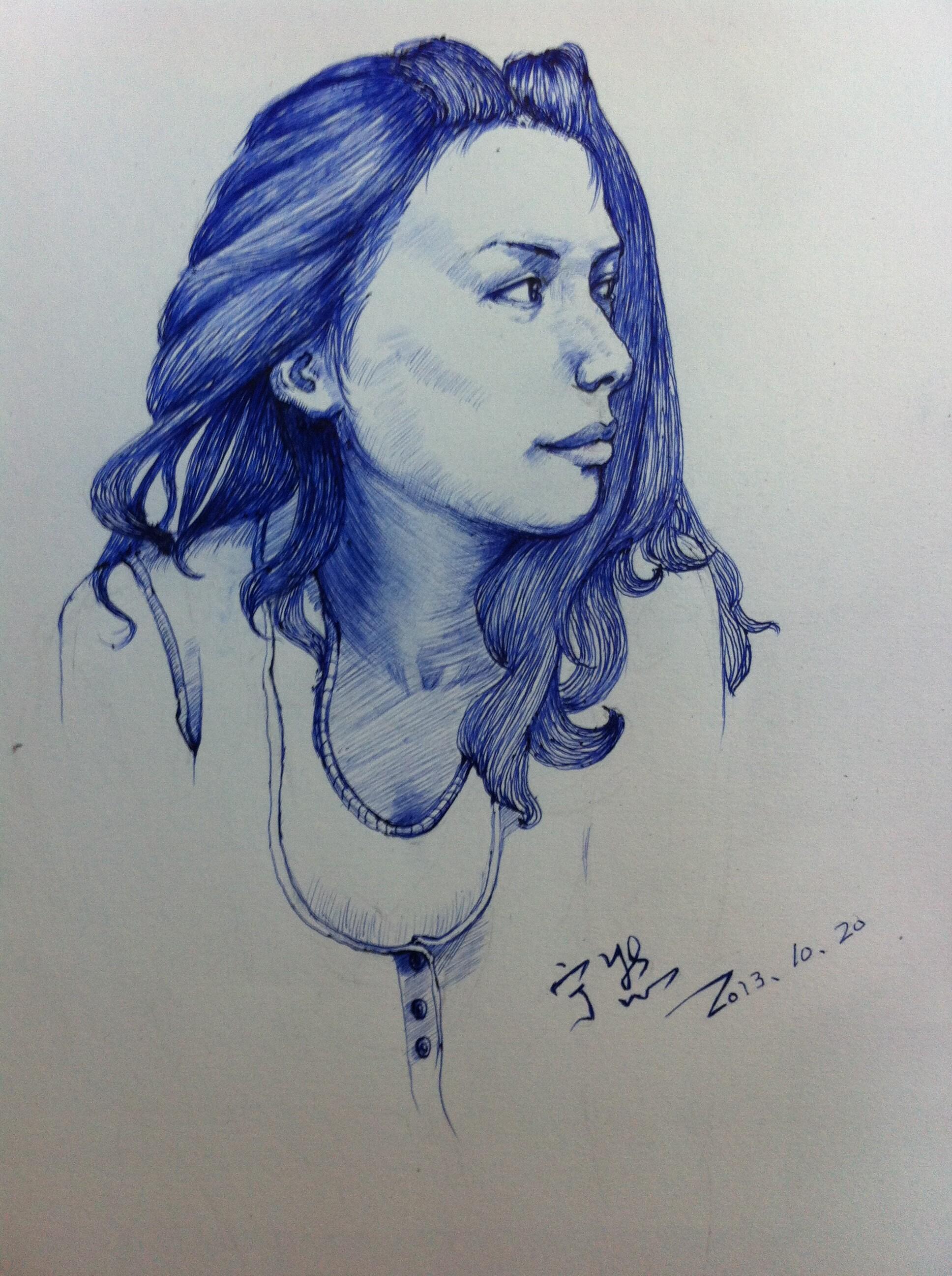 圆珠笔画的美女,还有用马克笔和针管笔画