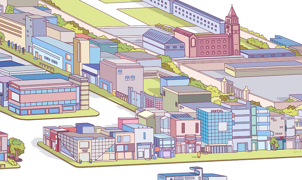 首尔明洞手绘地图|插画|游戏原画|edmundsu - 原创