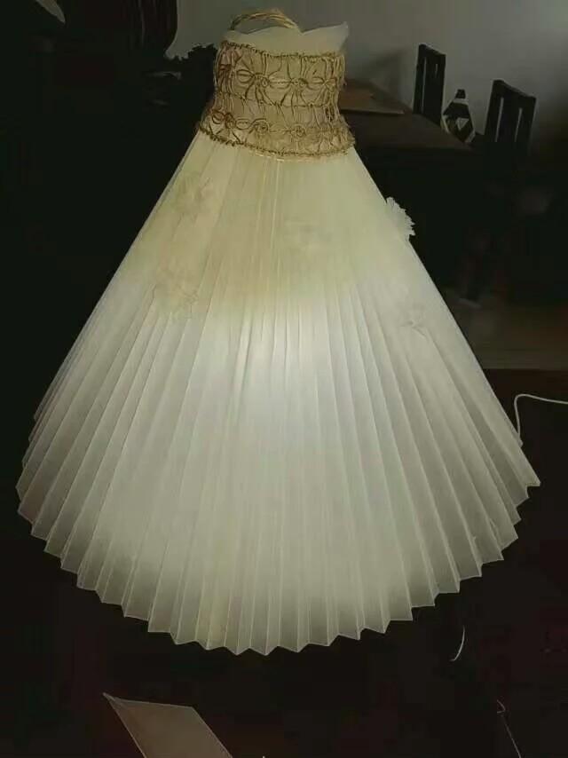 这是一款自制的梦幻婚纱小夜灯,usb插孔,硫酸纸