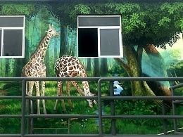 野生动物园墙体彩绘3d画