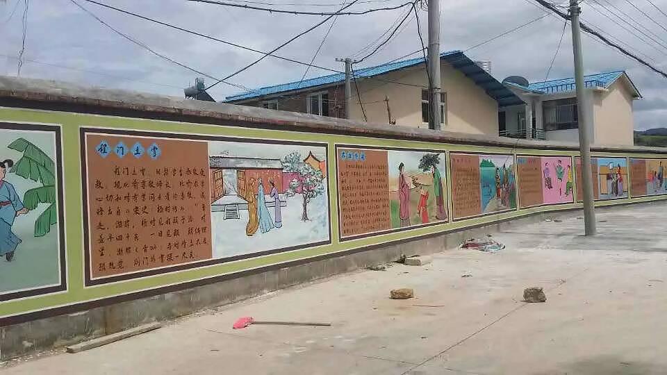 文化建设文化墙彩绘曲靖保山大理玉溪中小学传统文化建设彩绘手绘墙画