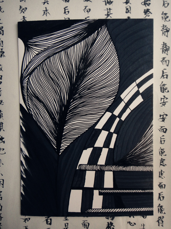 手绘黑白装饰画图片