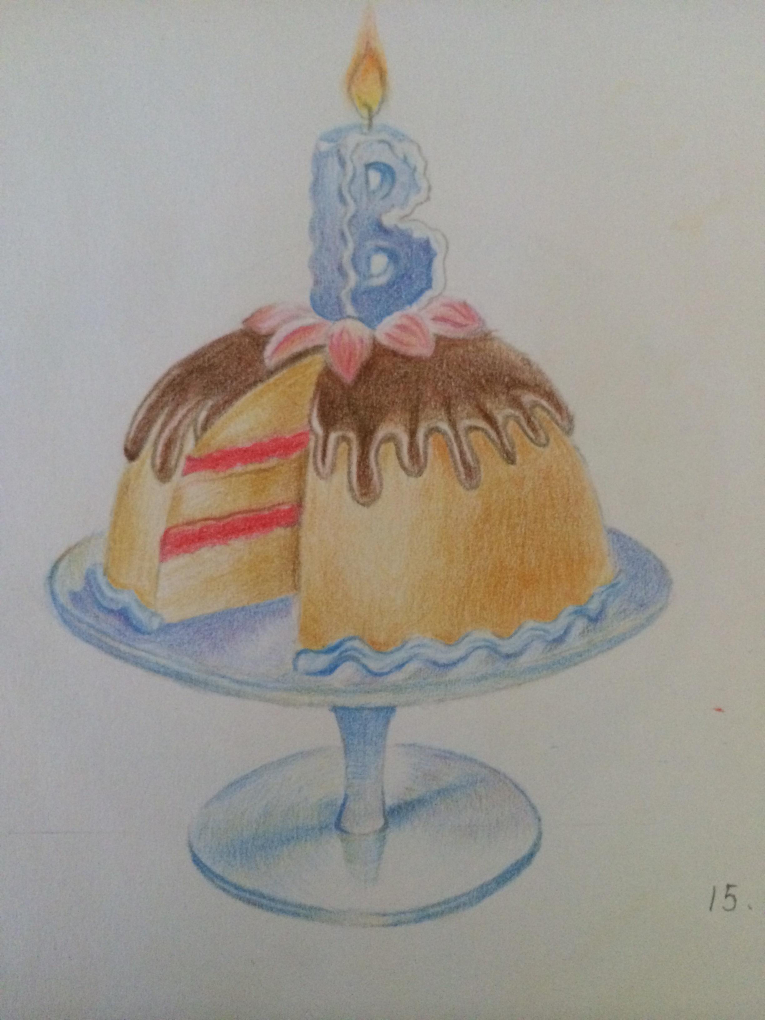 蛋糕盒手绘水彩笔画