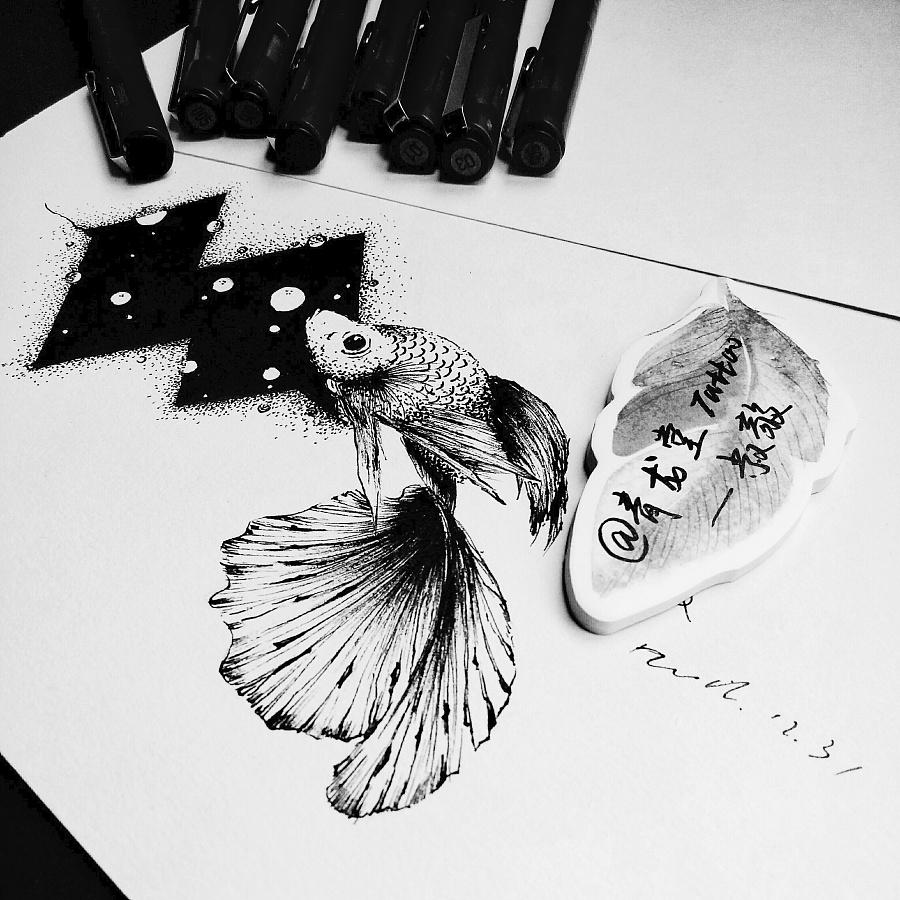 黑白纹身手稿 |插画习作|插画|青龙堂大叔在这图片