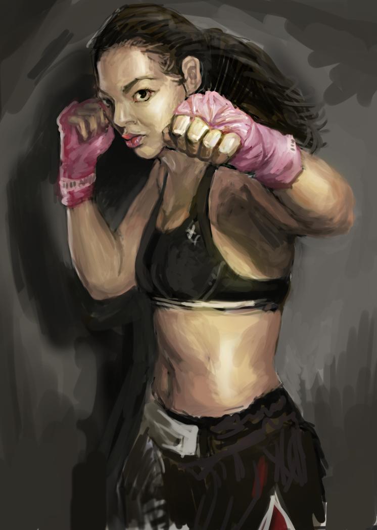 美女拳击手|商业插画|插画|月落之巅