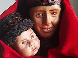 原創皮塑作品《塔吉克母親》