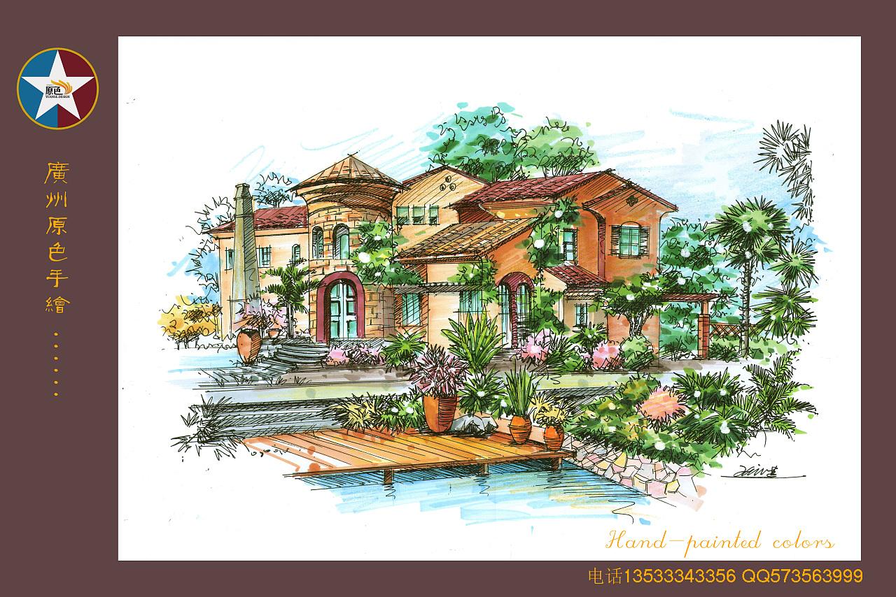 广州原色手绘建筑学生作品|空间|景观设计|广州原色