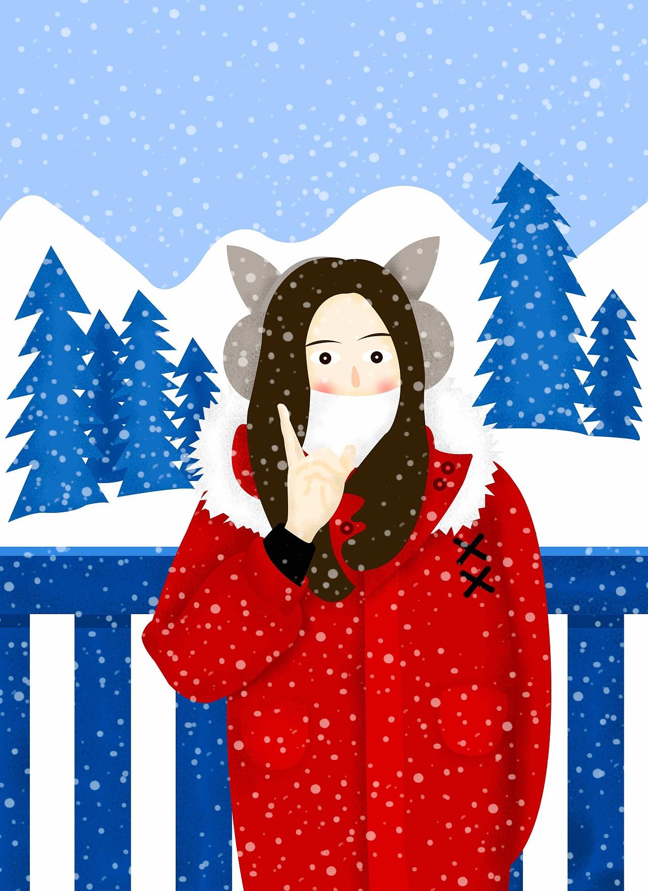 下雪 插画 插画习作 风里有诗句Rae - 原创作品