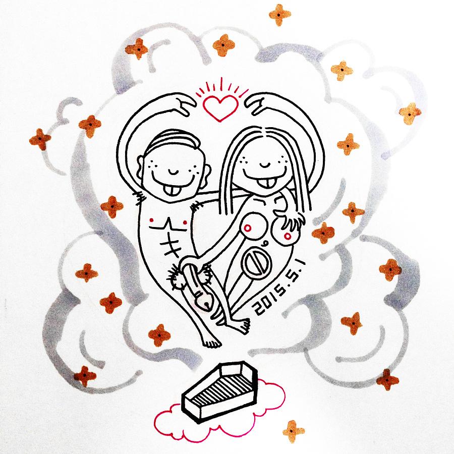 线描手绘爱情坟墓