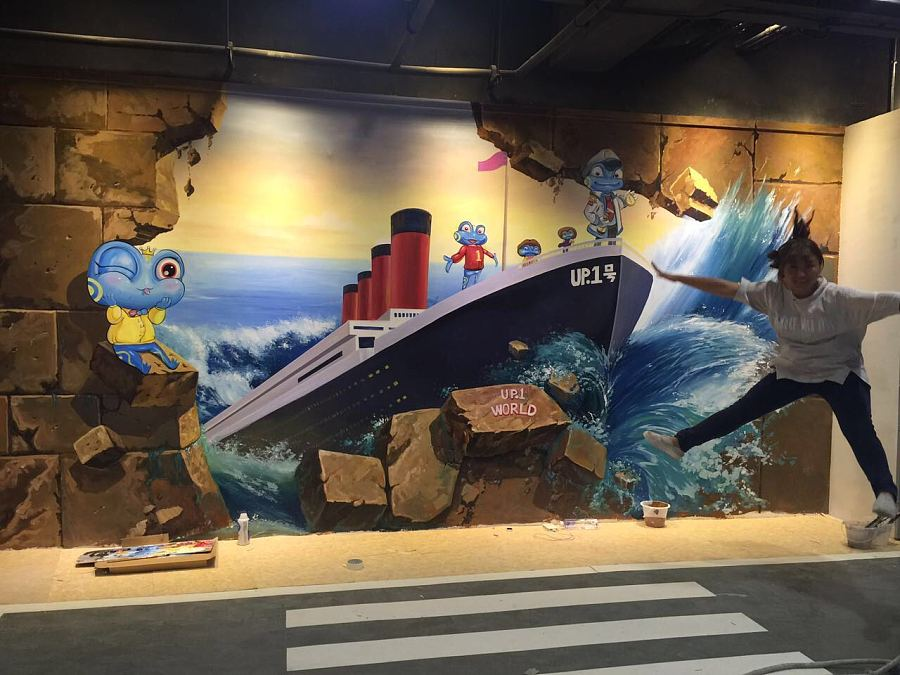深圳约网咖,3d立体画墙绘
