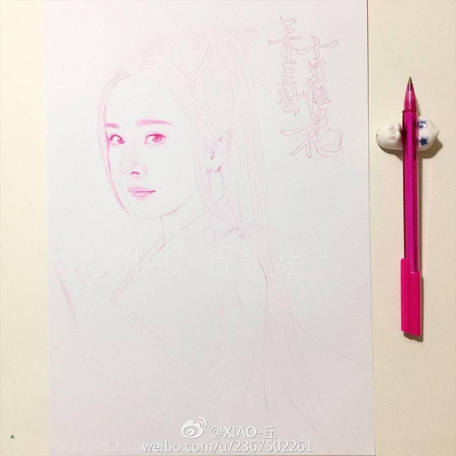 圆珠笔手绘三生三世十里桃花之白浅|商业插画|插画