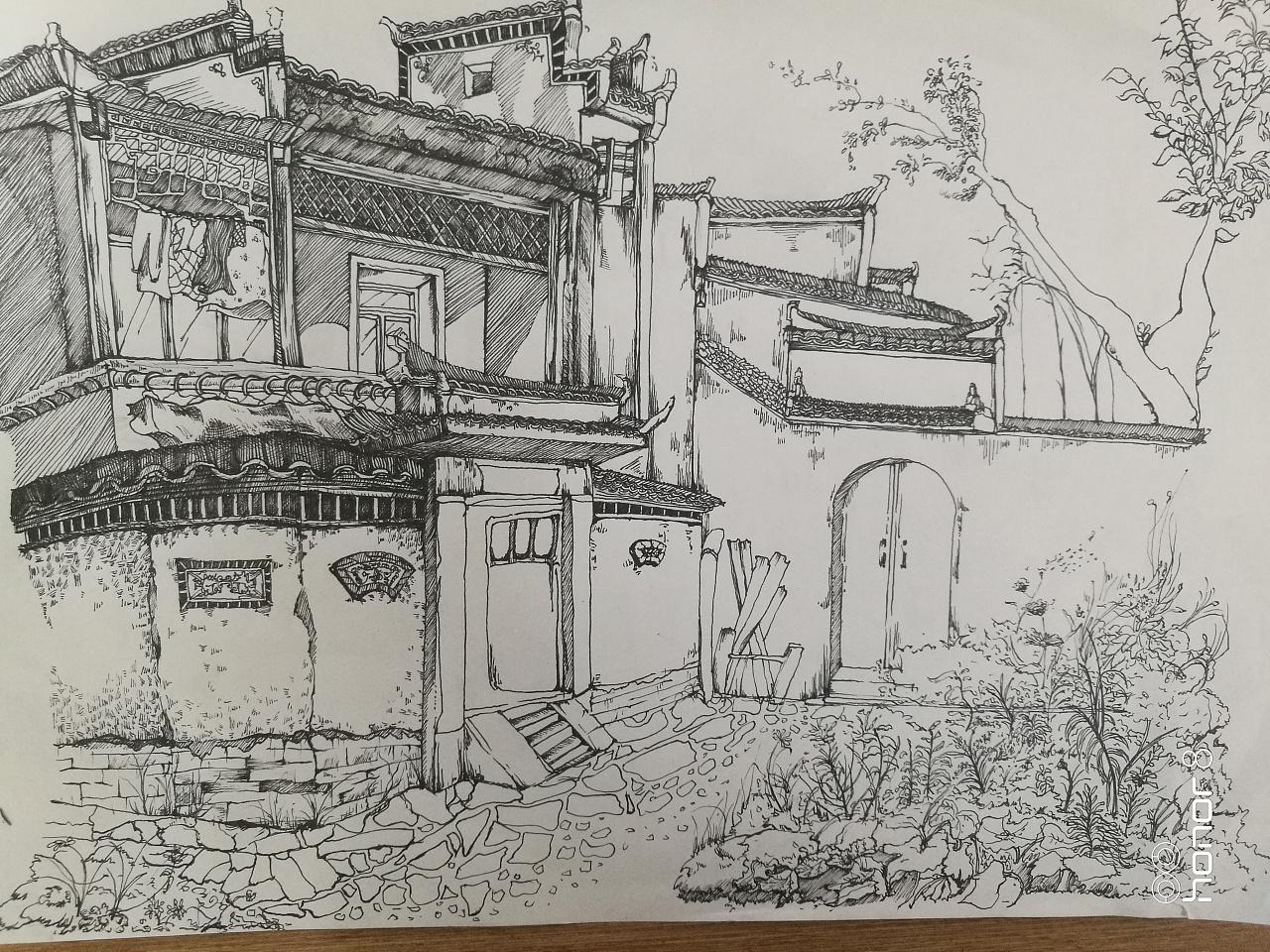宏村风景速写图片