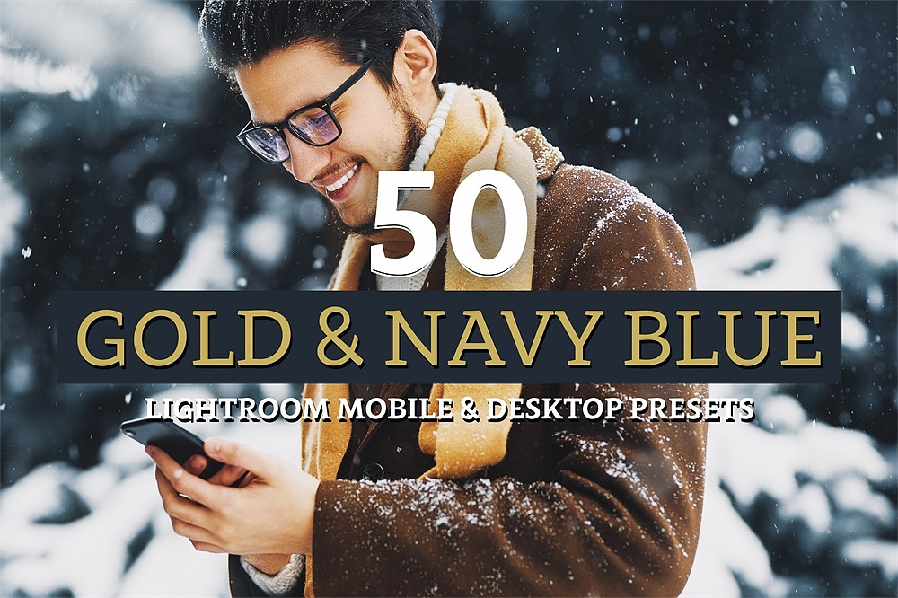 【P181】海军蓝旅拍胶片LR+LUT预设sparklestock Gold & Navy Blue Lightroom Presets and LUTs
