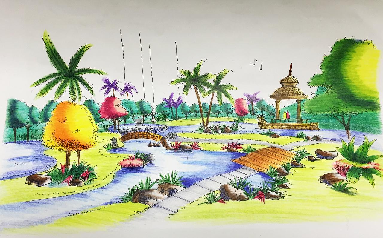 园林景观手绘效果图|纯艺术|彩铅|iiiicherry - 原创