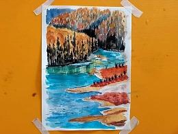 水彩画湖光山色的新疆-小尤说画