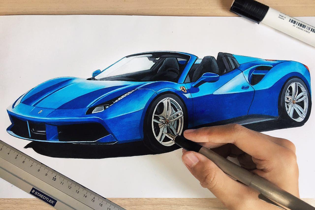马克笔汽车手绘练习|插画|其他插画|小柴ys - 原创