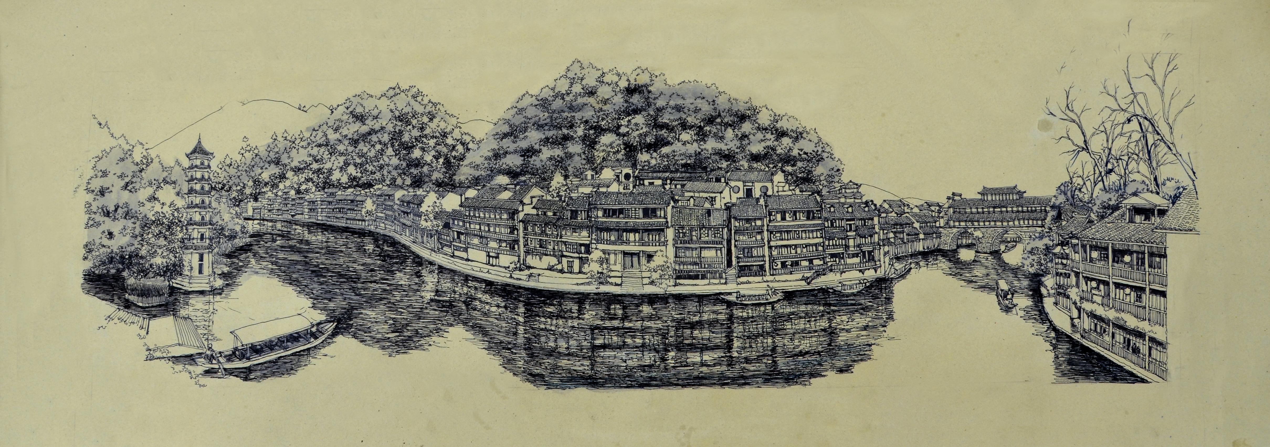 李万海原创钢笔手绘《手绘凤凰古城全景》