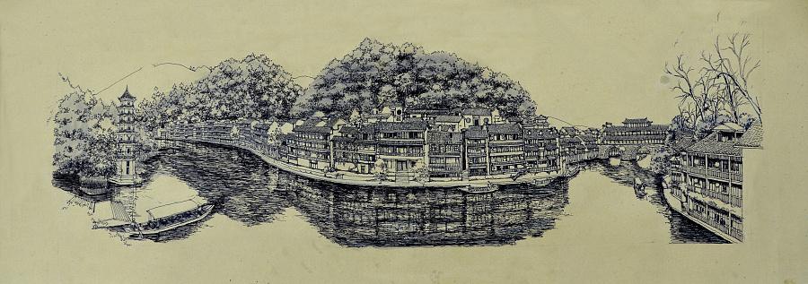 李万海原创钢笔手绘《手绘凤凰古城全景》|钢笔画|纯