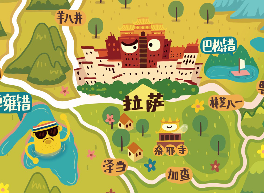 林p酱最新q版地图之★大西藏篇★|商业插画|插画