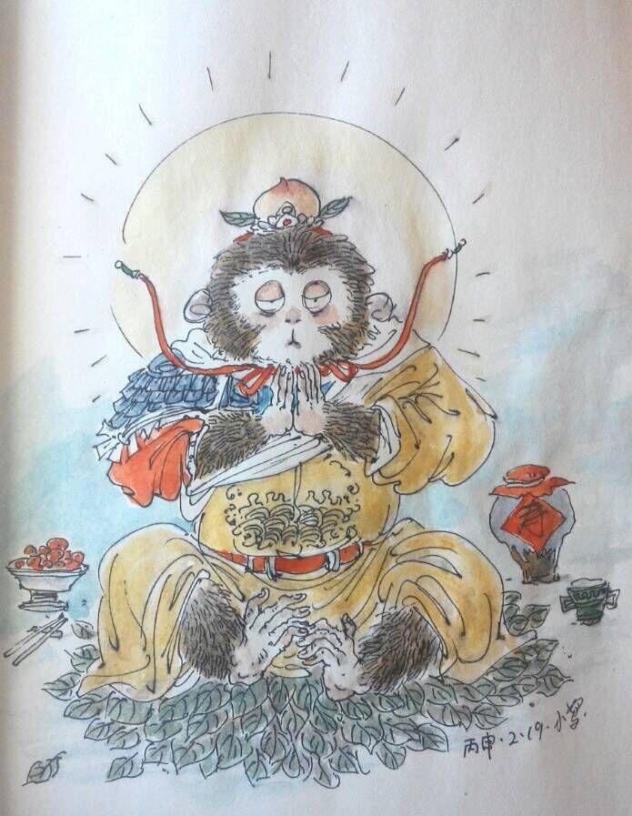 钢笔插图手绘斗战胜佛.塑新斋潘纪坤