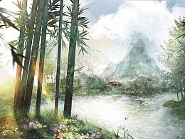 【含绘画过程视频】竹林深处