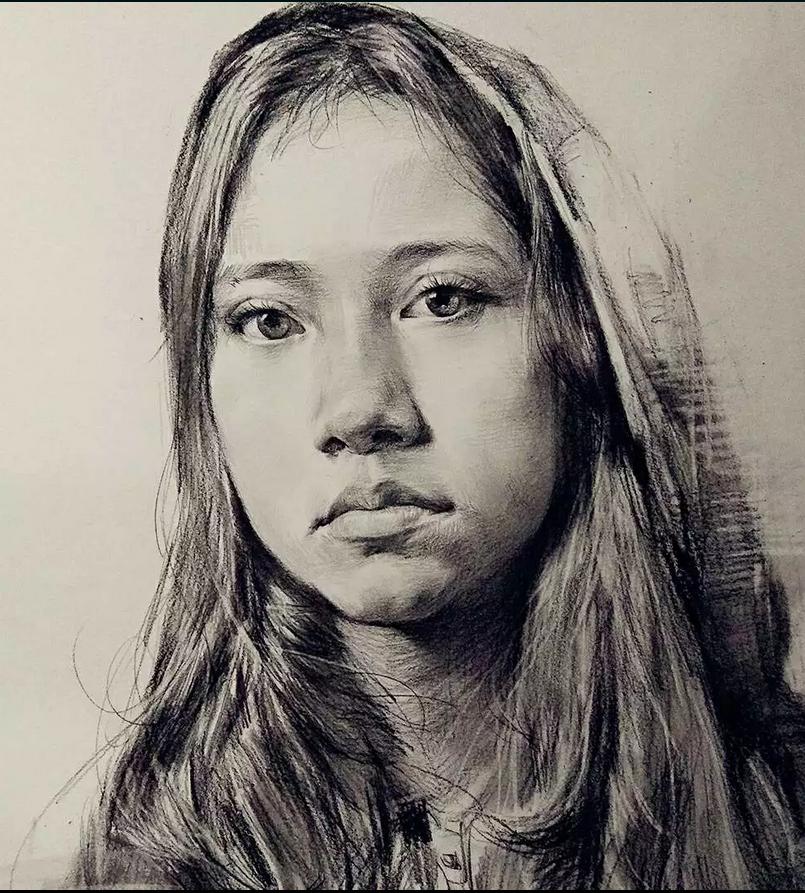 素描 人物肖像女孩
