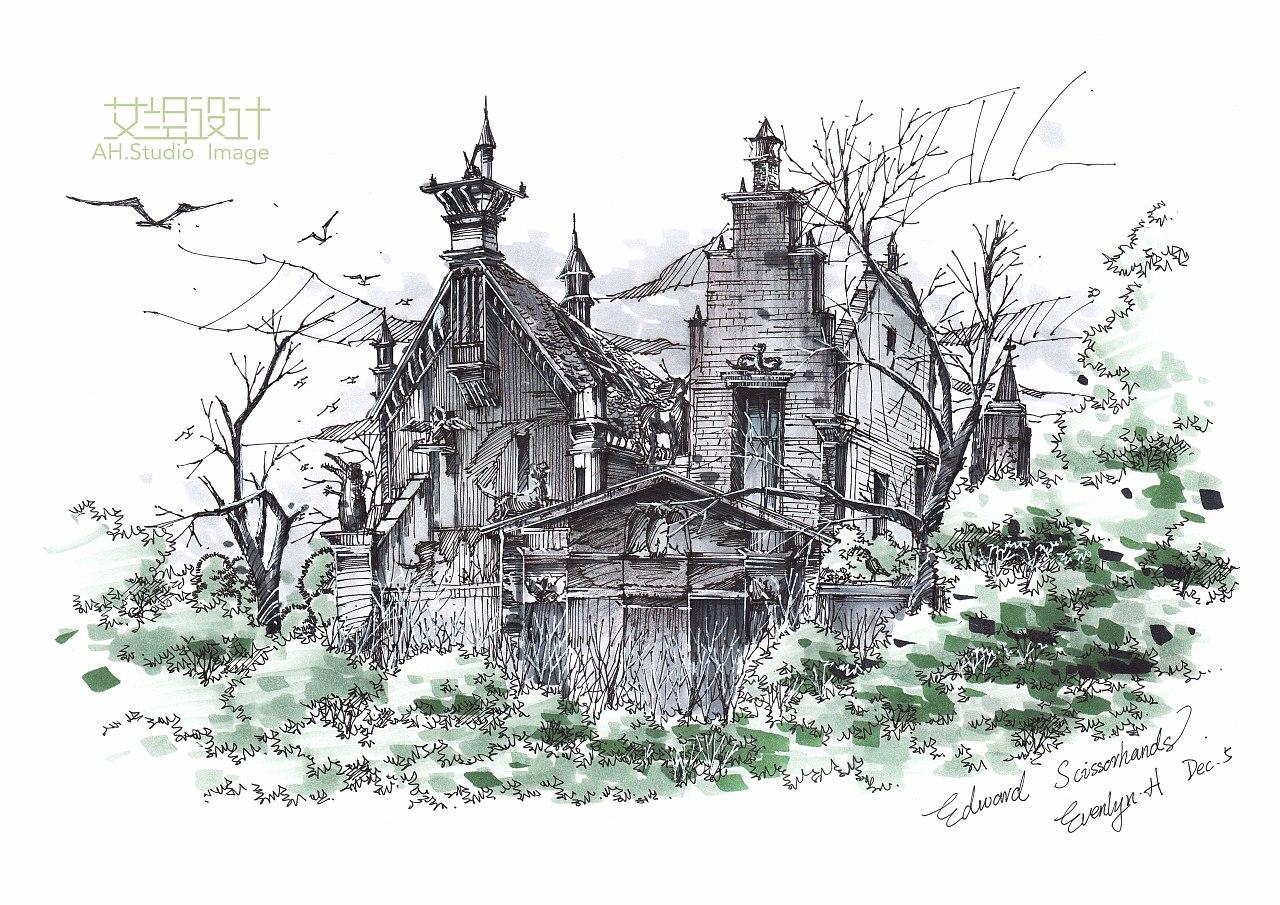 我的几张建筑景观手绘