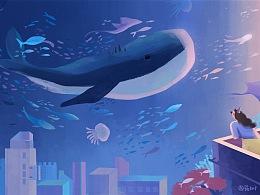 海蓝时见鲸