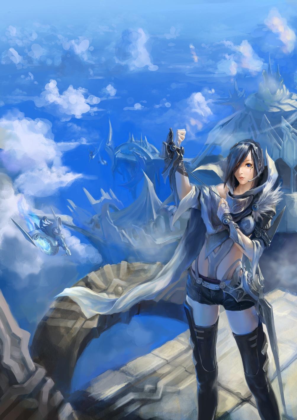 我个人很喜欢最终幻想系列和宫崎骏的天空之城,所以一直想画图片