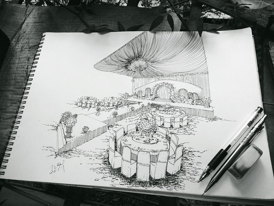 近期的婚礼手绘线稿 舞台美术 空间 斗爷丶 - 原创
