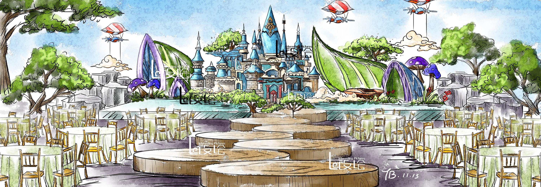 城堡婚禮手繪圖