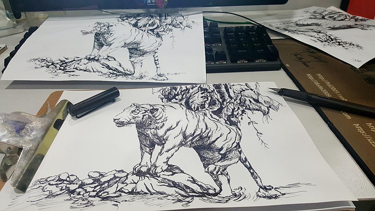 动物钢笔画手绘临摹