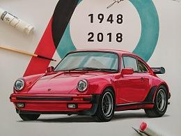 保时捷70周年纪念,手绘保时捷911