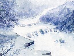 山雪月 · 蓝