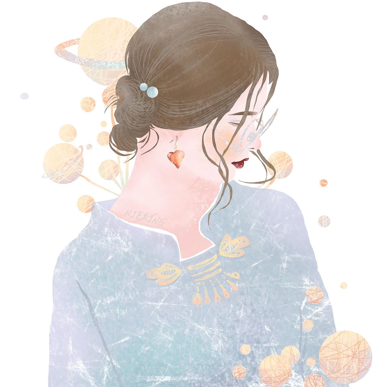 小清新人物头像创作|插画|插画习作|小星星籽 - 原创