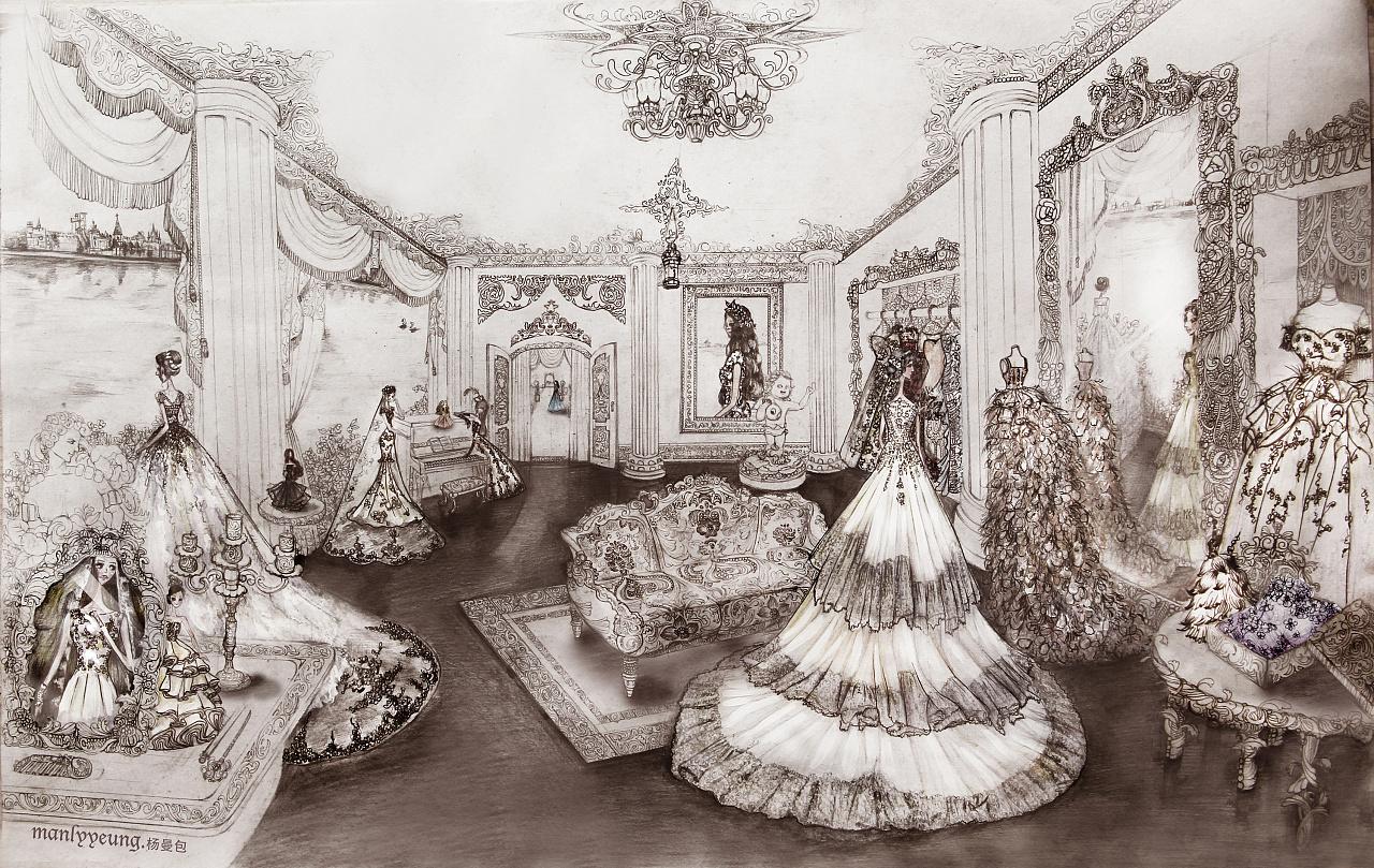 【原创】纯手绘—婚纱场景插画