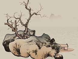 3D国画山水-澄江寒月图