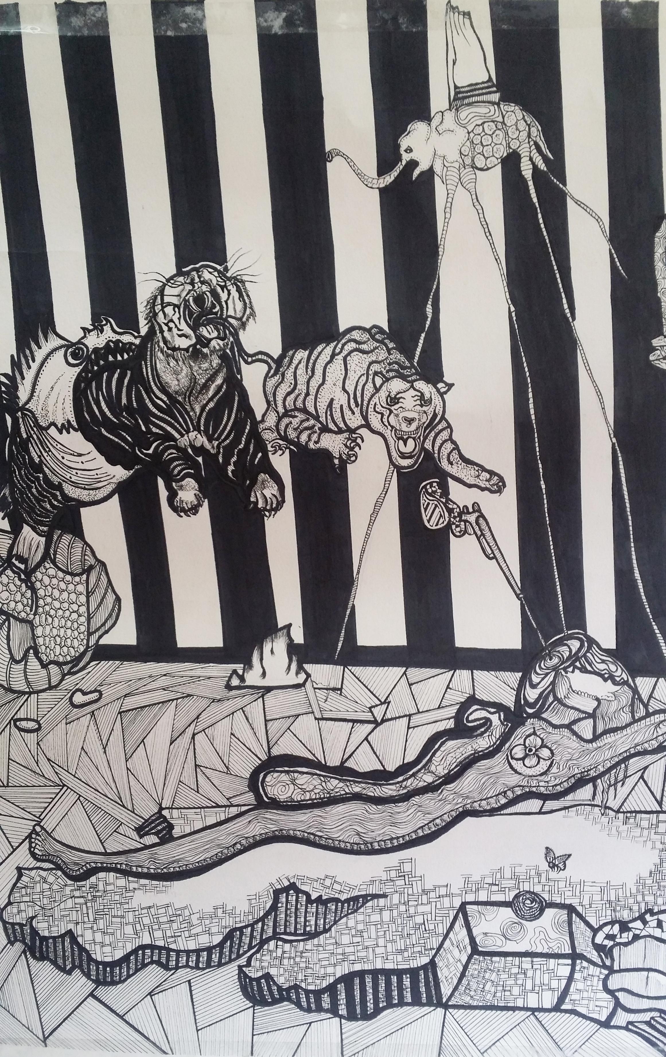 达利超现实主义黑白插画