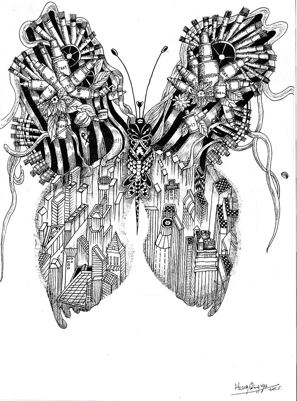 概念插画系列——黑白手绘