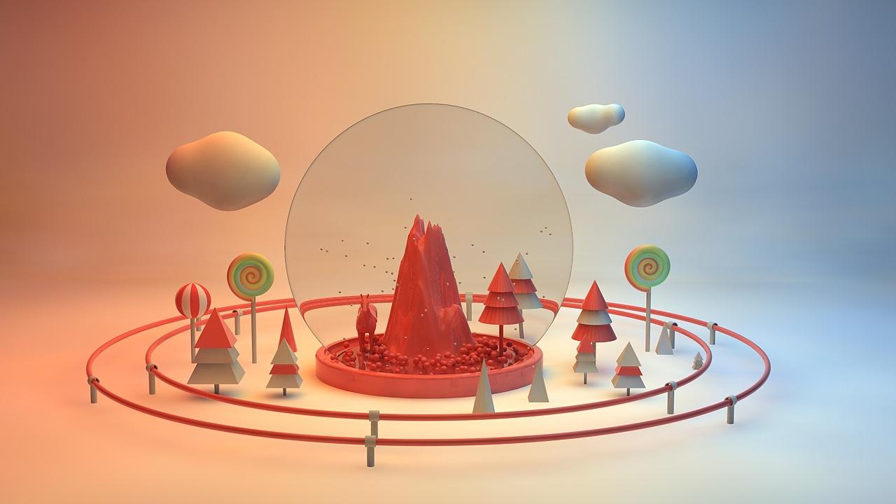 c4d-圣诞水晶球图片