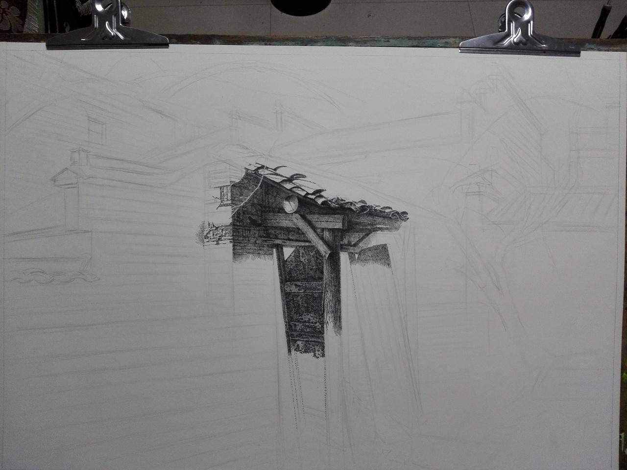 《屏山的早晨》|纯艺术|钢笔画|go朱云峰1 - 原创作品