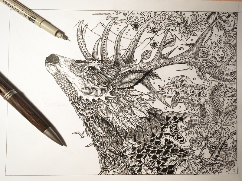 唯美图片/关于鹿的手绘图片/森系鹿手绘图片/小鹿手绘图片