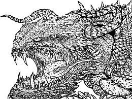 2020.07.11日常小练习之龟蛇怪插画