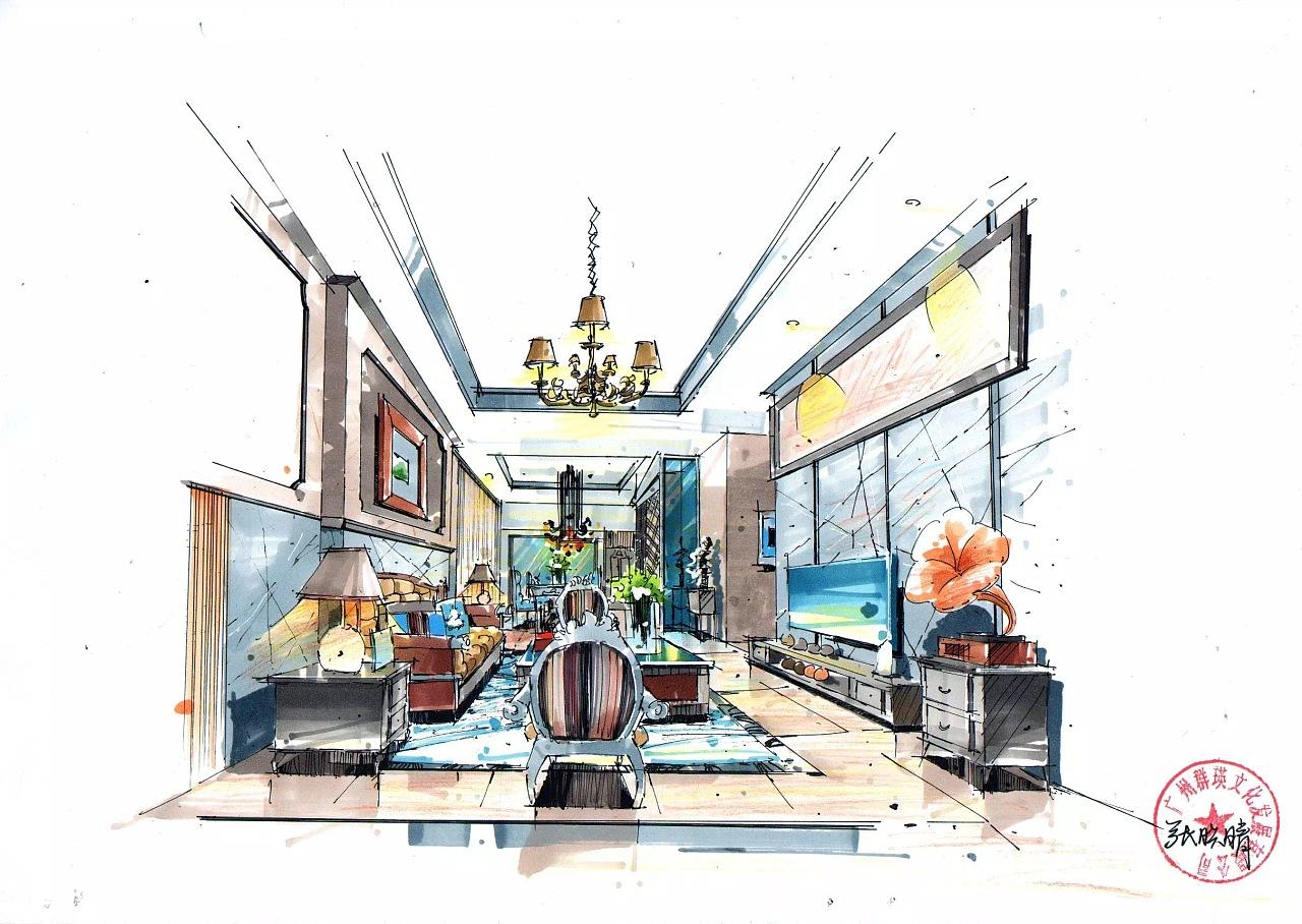 手绘教程-彩铅室内设计效果图-室内设计手绘图入门-室内设计手绘图
