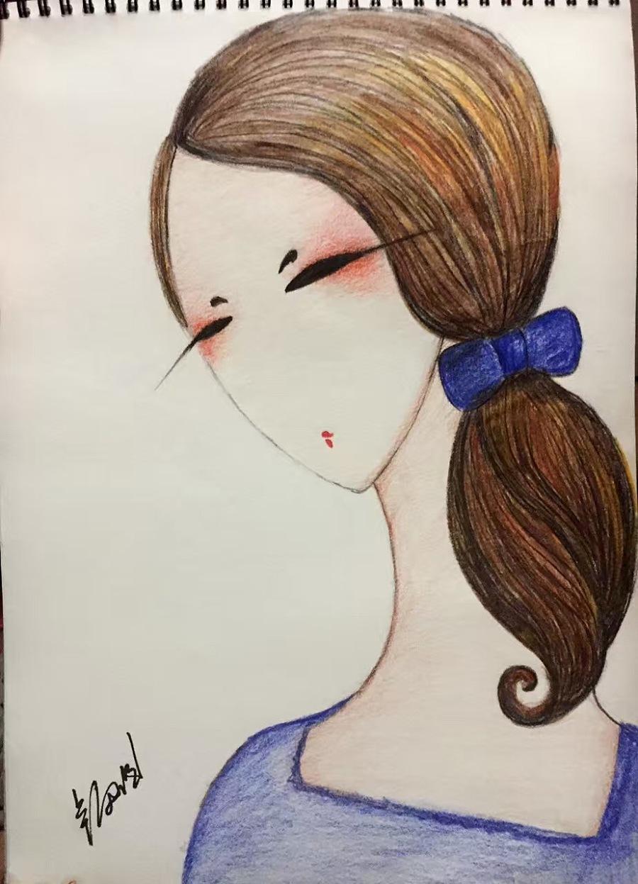 手绘卡通人物彩铅|绘画习作|插画|夏天的雨0701