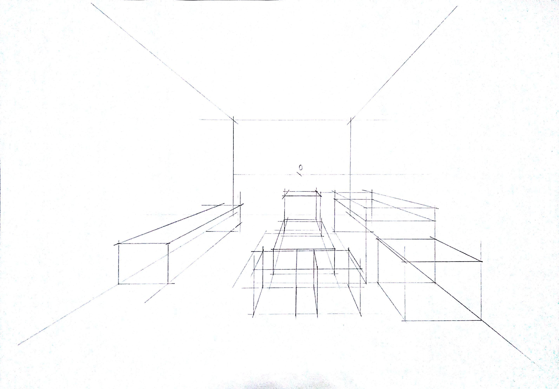 客厅空间一点透视黑白效果绘制步骤图.|空间|室内设计